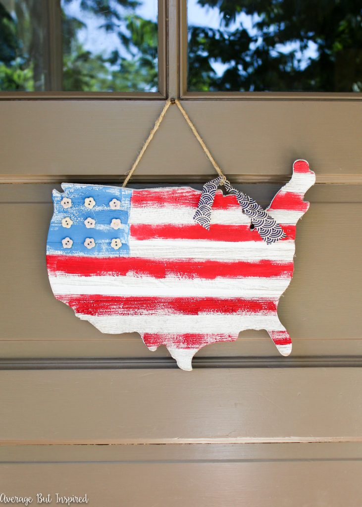 USA Wooden Flag Map Door Hanger