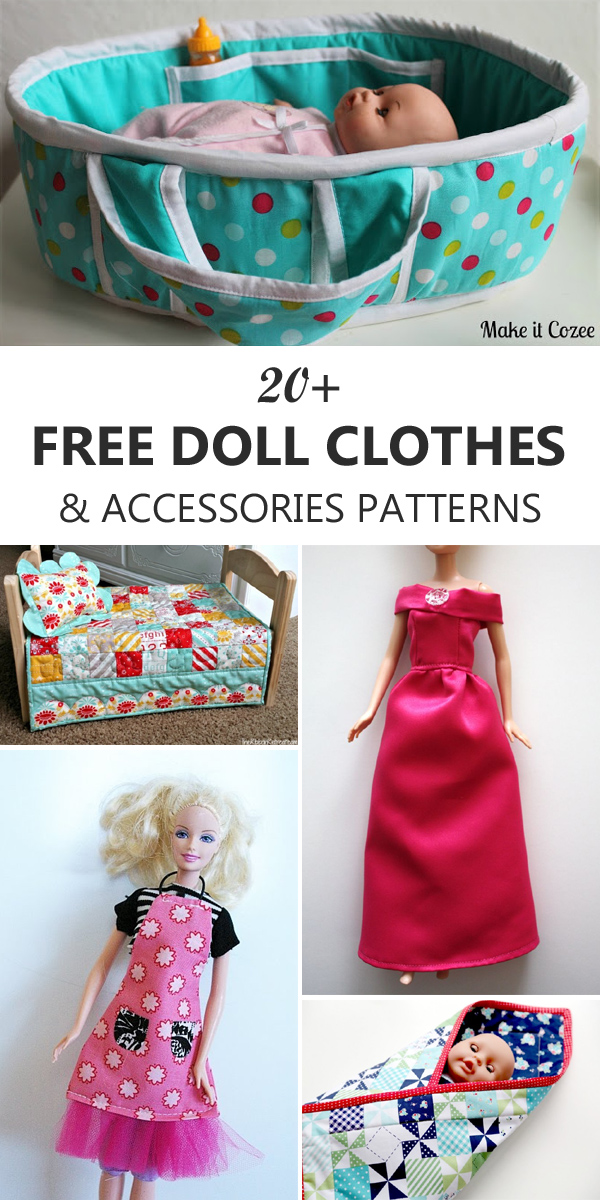 20+ Free Doll Clothes & Accessories Patterns