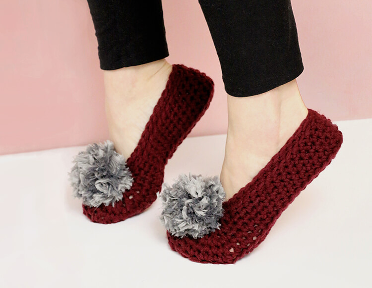 Fur Pom Pom Crochet Slippers