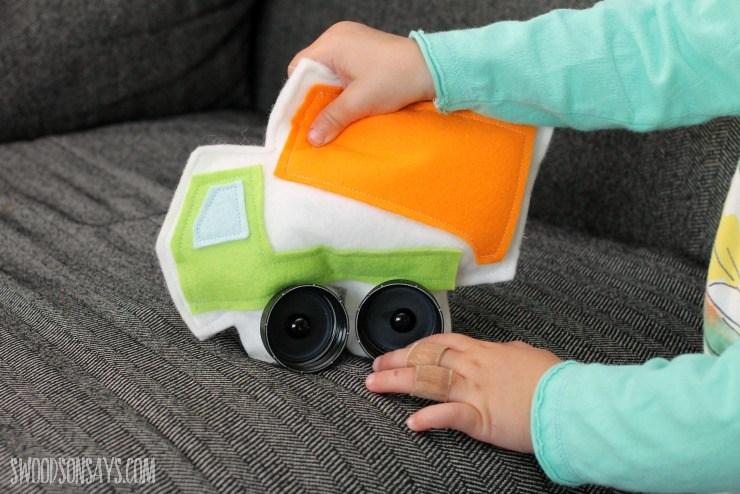 Dump Truck Softie with Bottle Cap Wheels