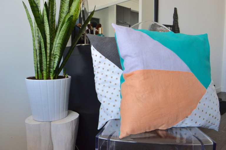 Scrap Fabric Geometric Pillow