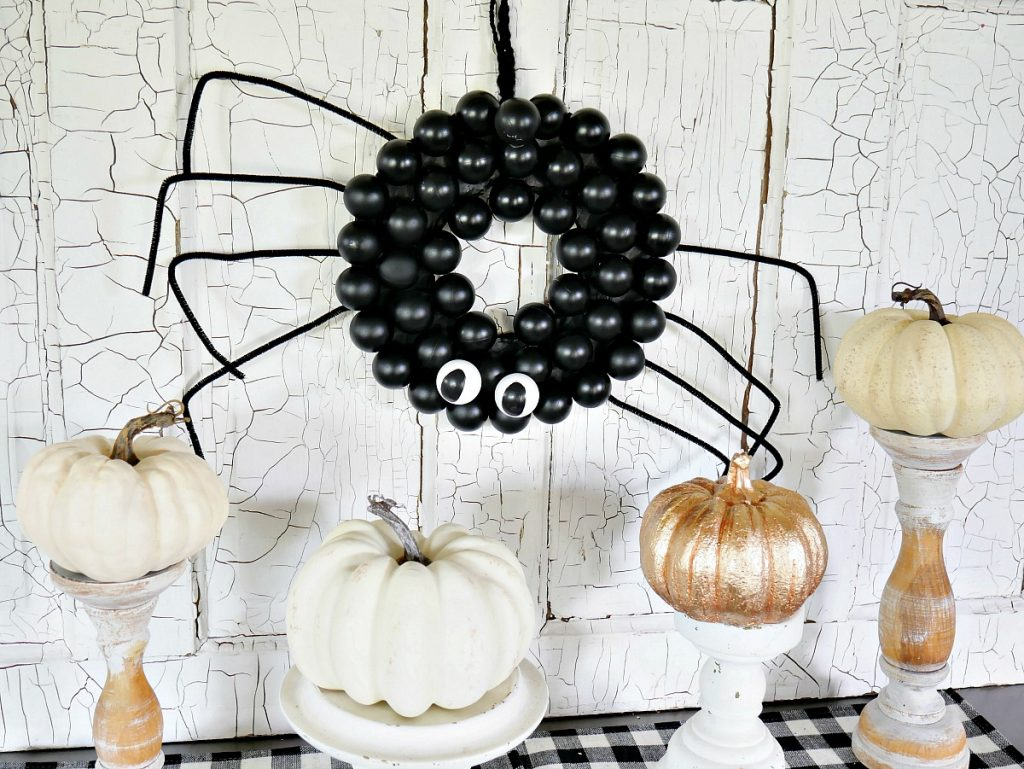 Spider Wreath Using Ping Pong Balls