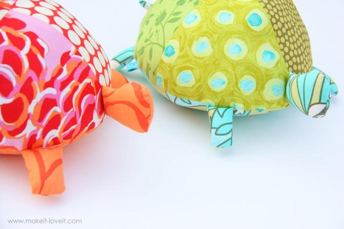 Stuffed Fabric Turtles
