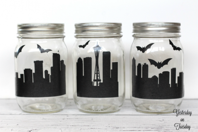 Spooky City Mason Jar Decor
