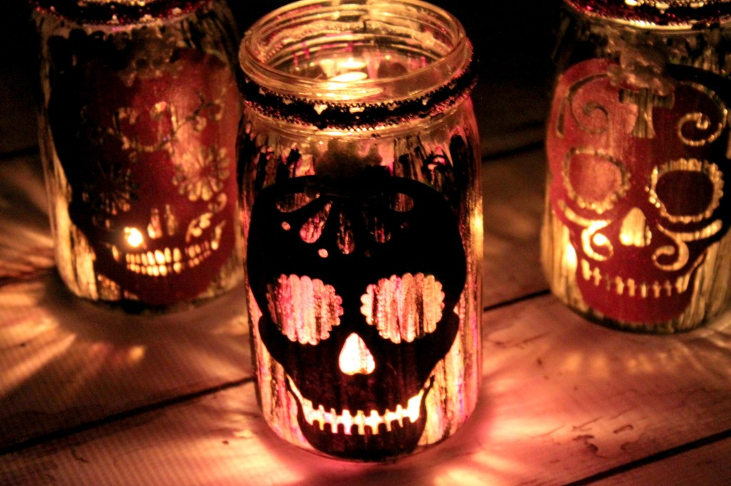 Sugar Skull Mason Jar Lanterns