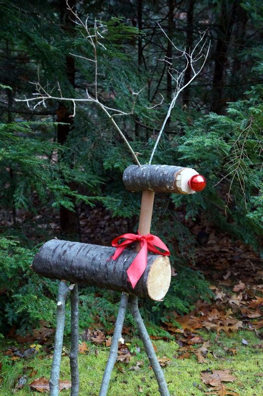 Christmas Reindeer from Logs
