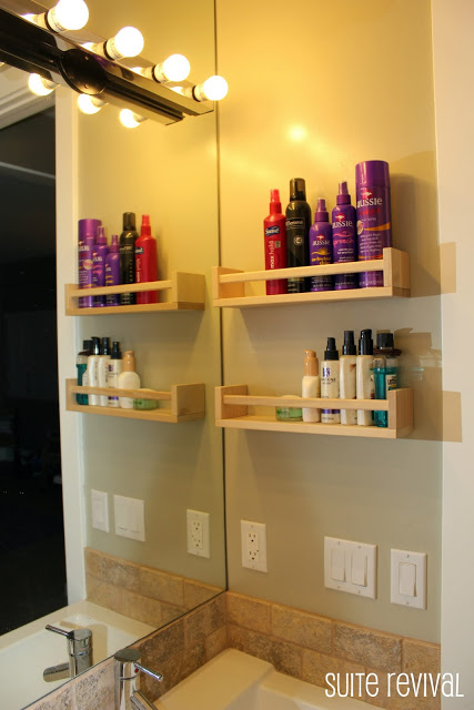 Mount a few spice racks to the wall to store your hair products and lotions