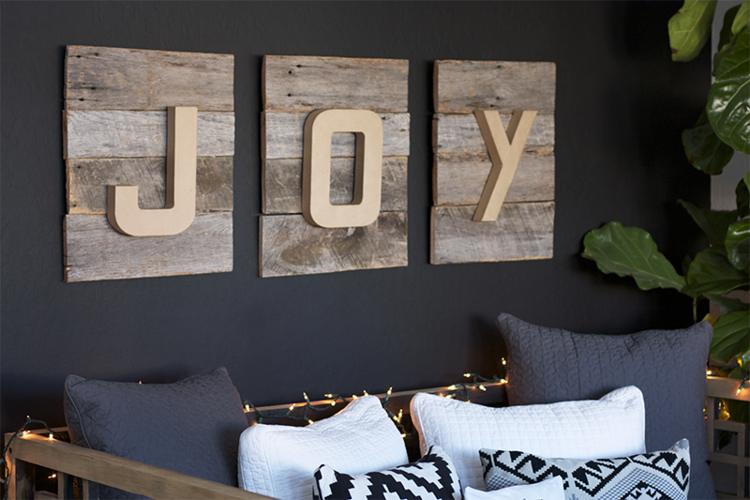 Reclaimed Wood Joy Christmas Sign