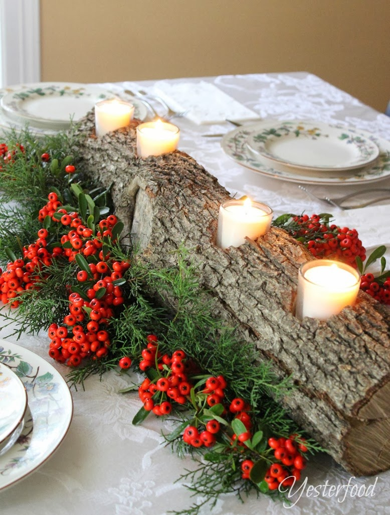 Rustic Log Candle Holder Centerpiece