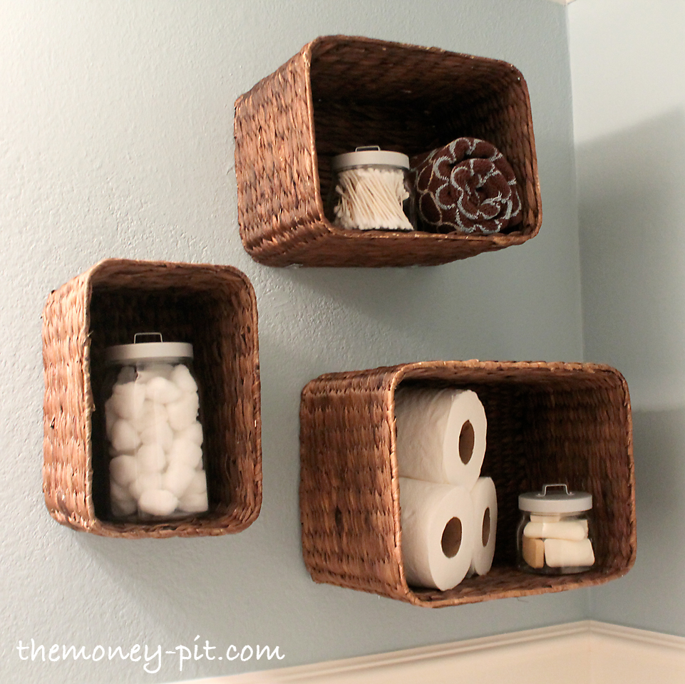 Turn baskets into open shelves