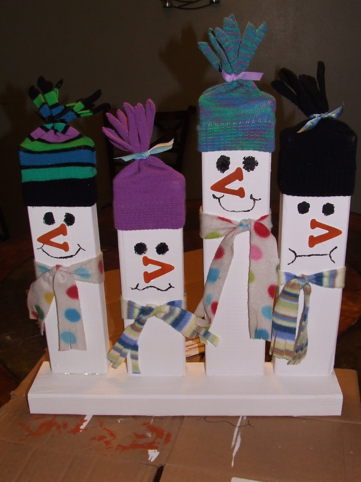 Wooden Welcome Snowmen