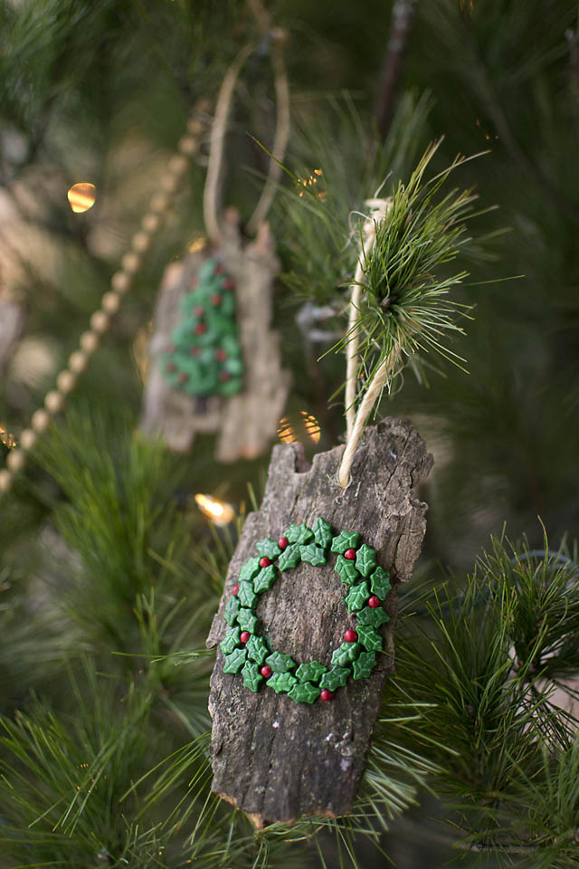 Rustic Bark ornaments