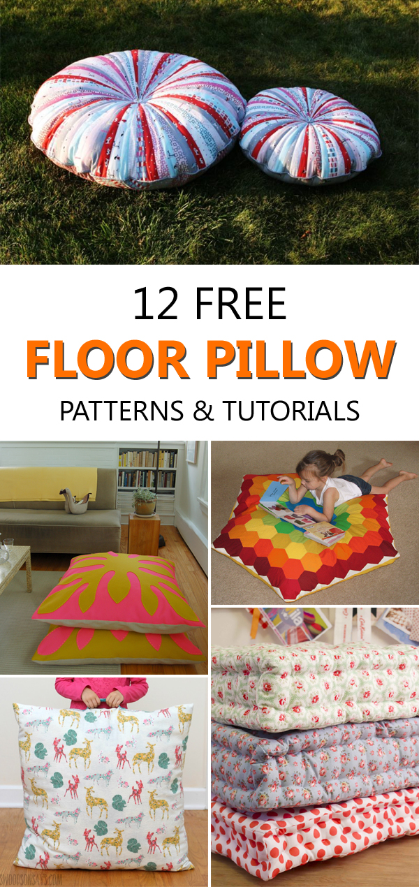 12 Free Floor Pillow Patterns and Tutorials