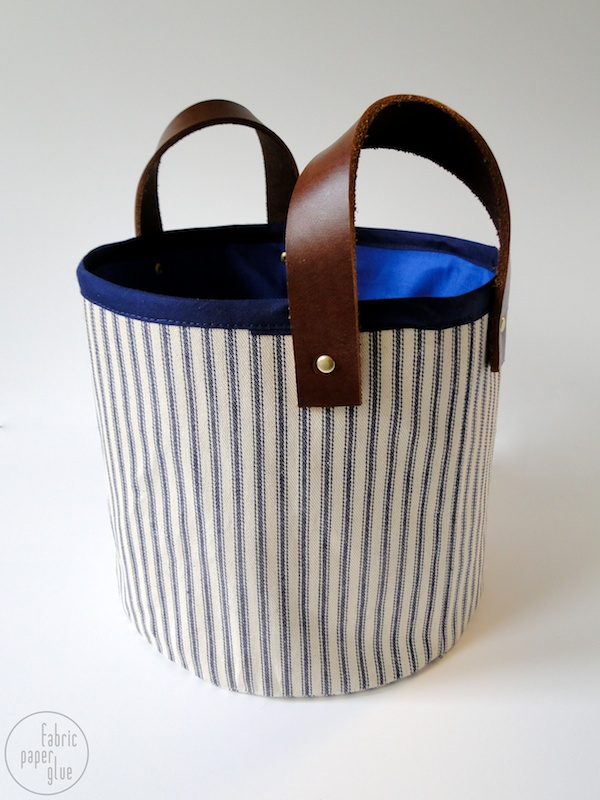 Fabric + Leather Storage Basket