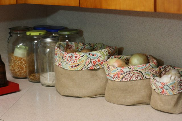 burlap and fabric baskets