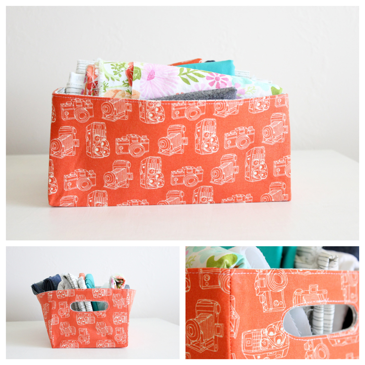 fabric basket with cut out handles