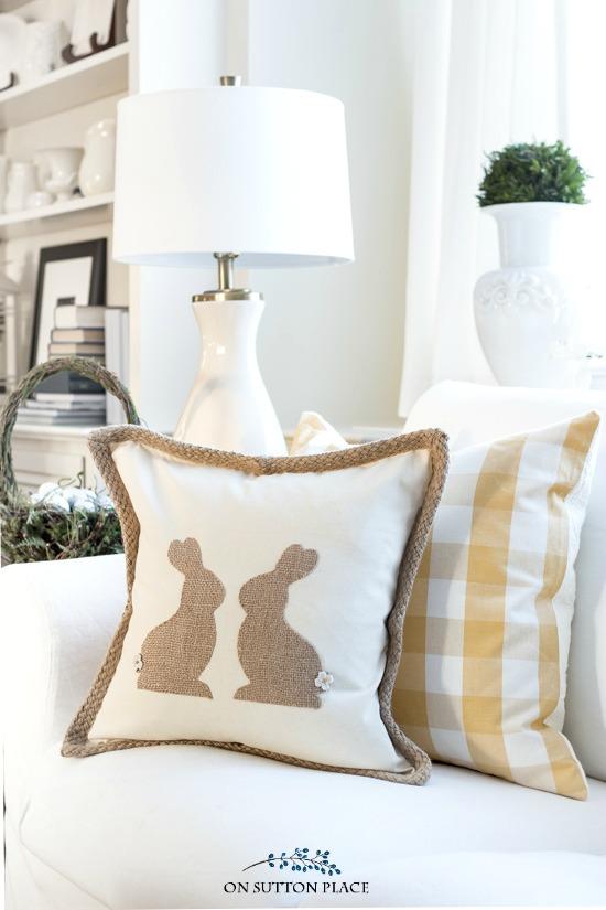 Burlap Easter Bunny Pillow