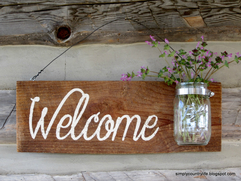 Rustic Barnwood Mason Jar Welcome Sign