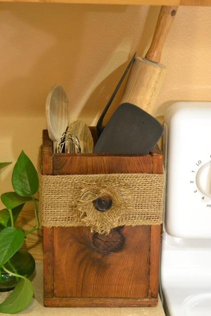 Wooden Utensil Box with Burlap Flower