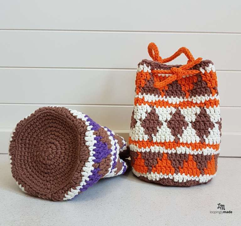 native print drawstring bag