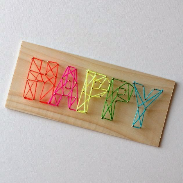 Neon Happy String Art