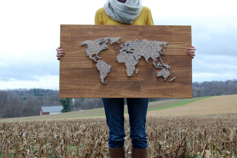 World Map String Art