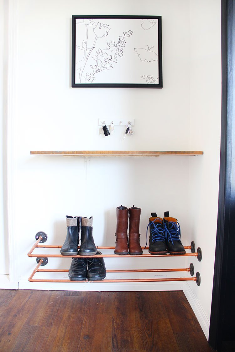 Floating Copper Shoe Rack
