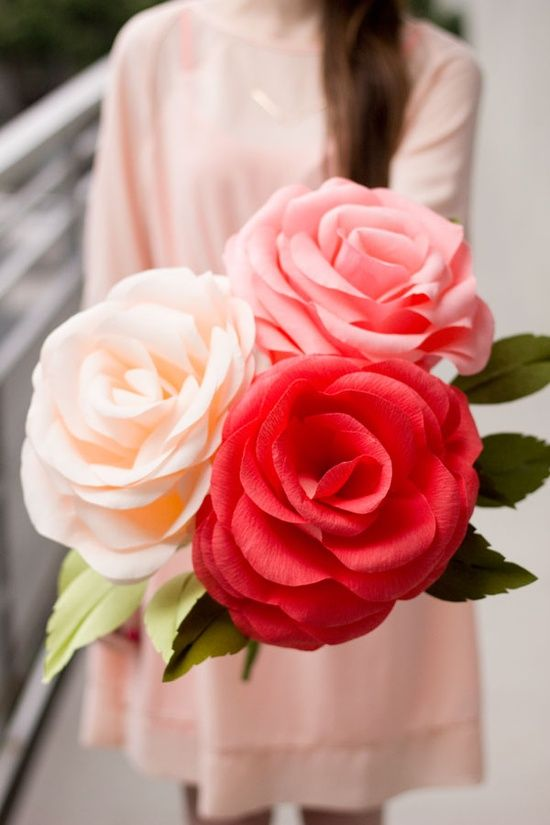 Giant Crepe Paper Roses
