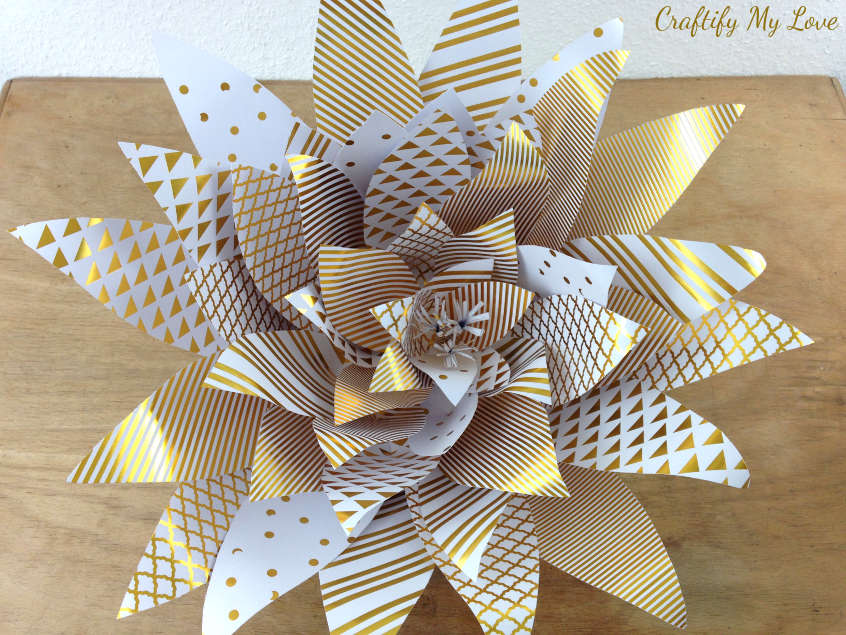Gold and White Giant Paper Flower