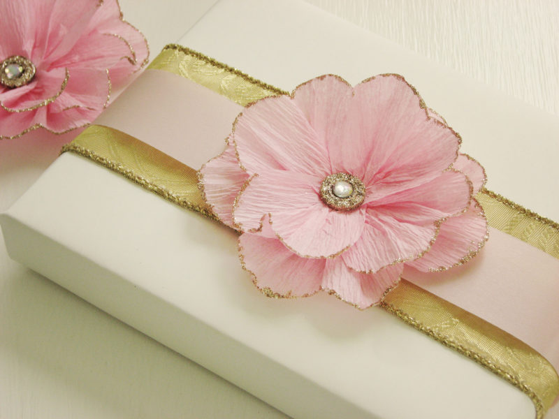Tissue Paper Flower with Glittery Edges
