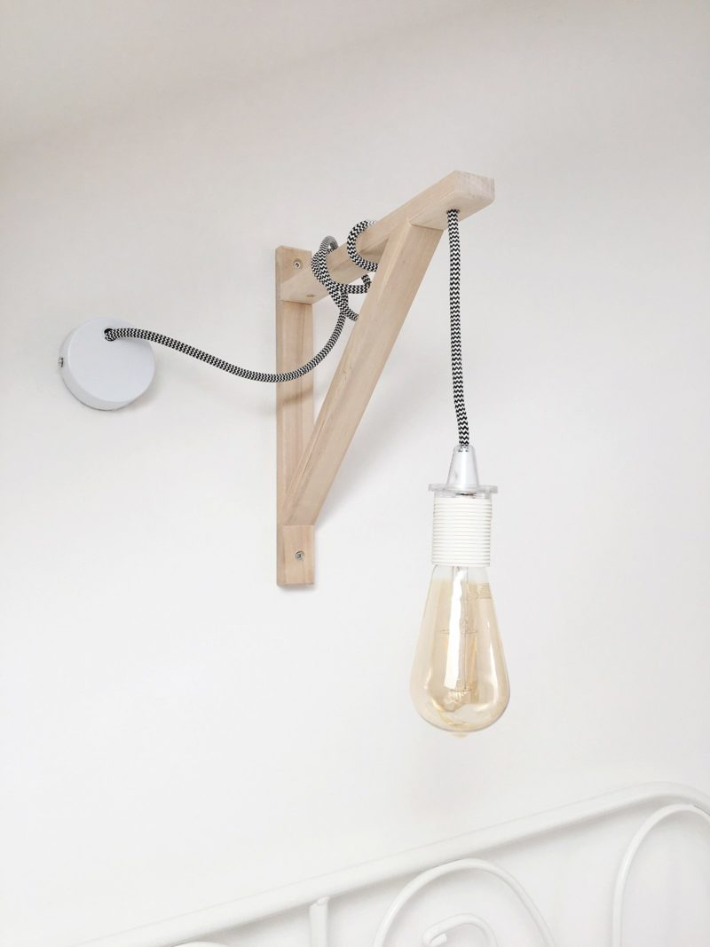 Wall Lamp with Hanging Lightbulb