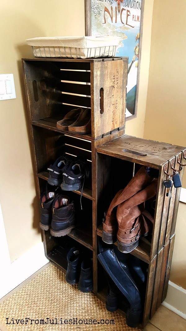 Wooden Crate Shoe Rack