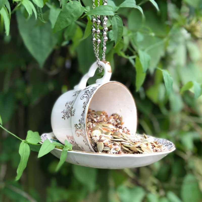 Hanging Teacup Bird Feeder