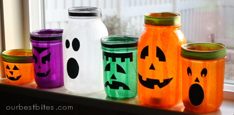 Mason jars Halloween Characters