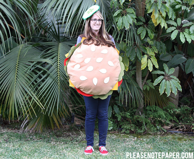 No Sew Burger Costume