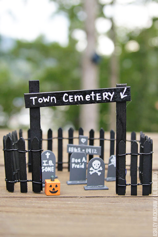 popsicle stick tombstones and cemetery