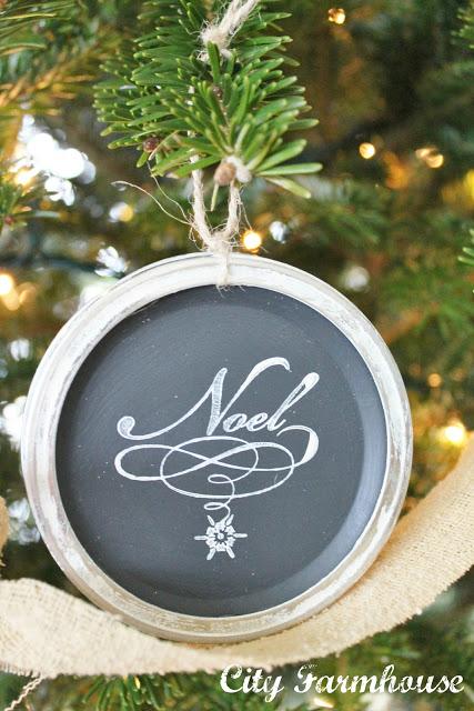 Mason Jar Chalkboard Lid Ornaments