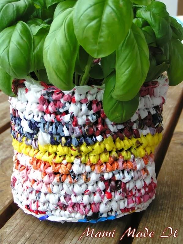 Recycled Plastic Bag Flowerpot