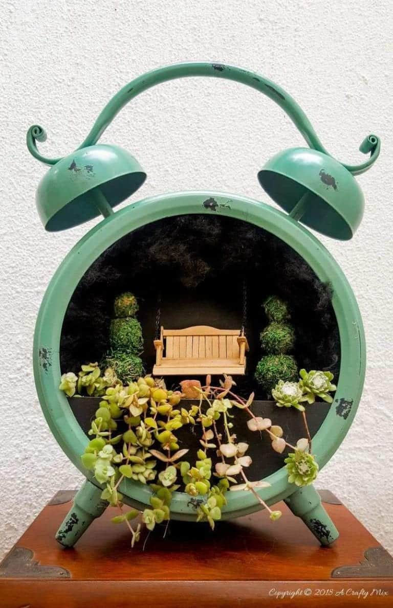 Fairy Garden in a Clock