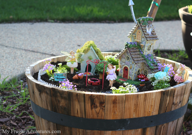 Fairy Garden in Wooden Barrel