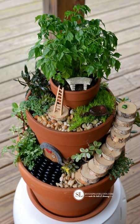 Tiered Flower Pot Fairy Garden