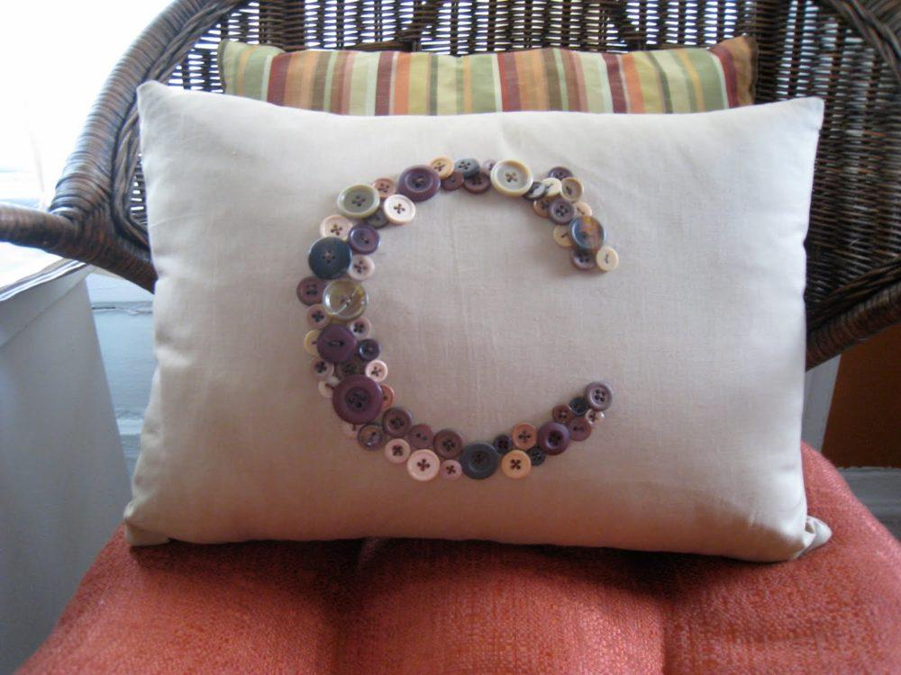 Buttoned Monogram Pillow