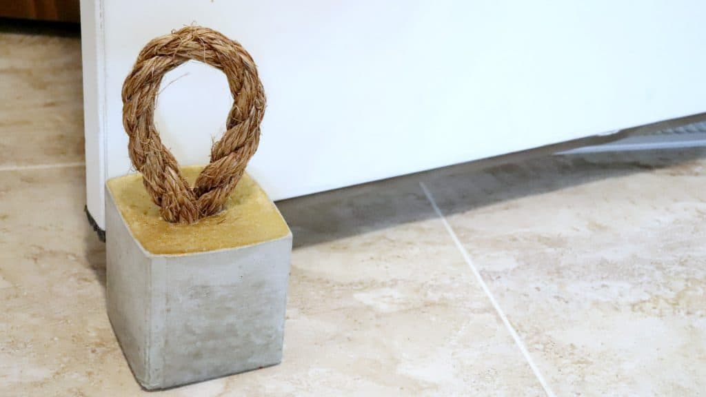 Modern Concrete Doorstop with Rope Handle