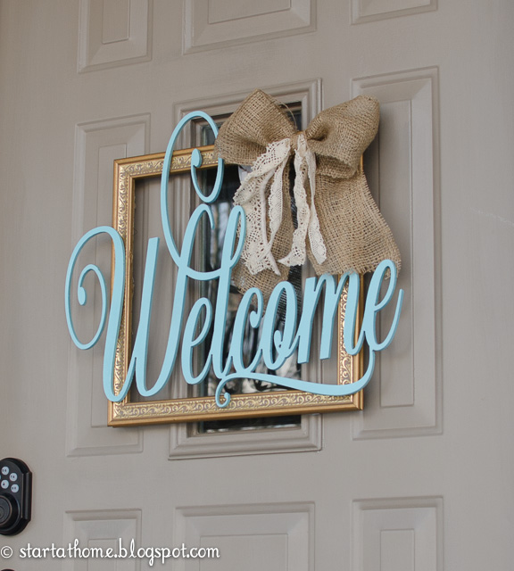 Gold Painted Frame and Burlap Bow Sign