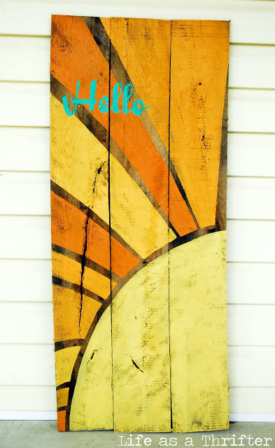 Painted Sunburst Wooden Welcome Sign