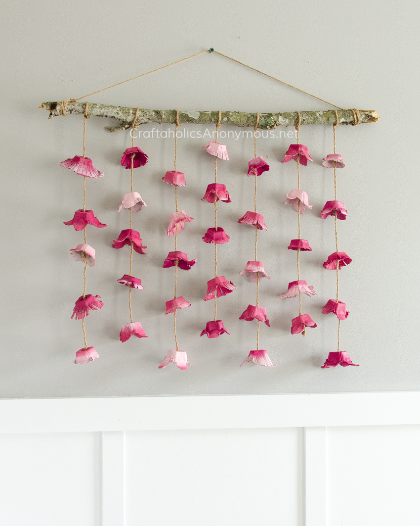 Boho Flower Wall Hanging made from Egg Cartons