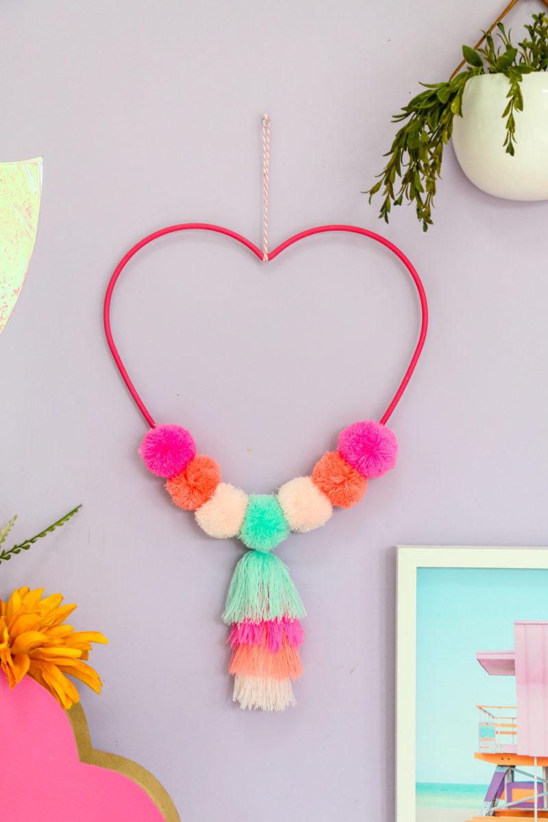 Pom Pom Tassel Heart Wall Hanging