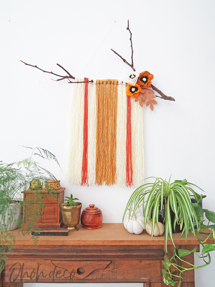 Yarn Wall Hanging with Felt Flowers