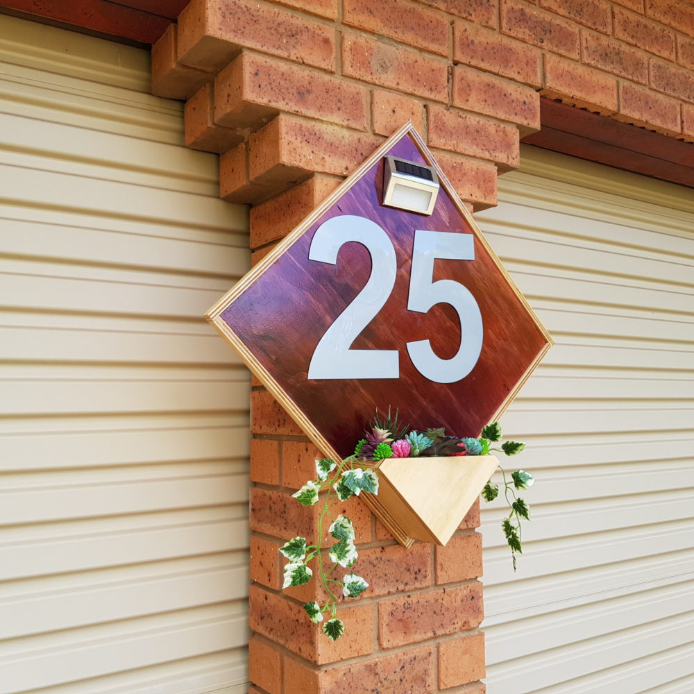 DIY House Number With Flower Box and Light