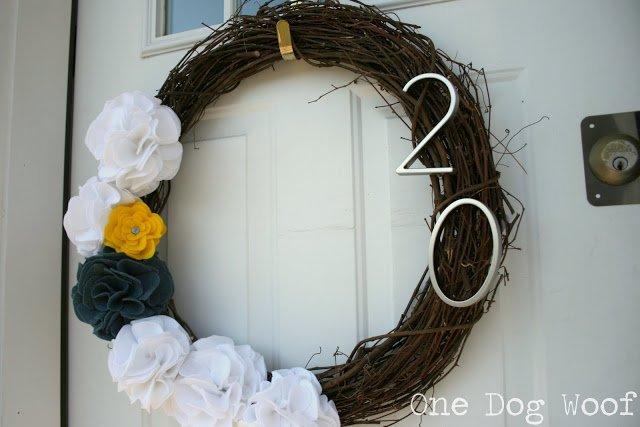 House Number Door Wreath